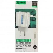 CARREGADOR V8 COM CABO 1 METRO E 2 SAIDAS USB 3,4A SH-T13 SHINKA