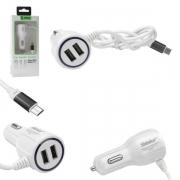 CARREGADOR VEICULAR MICRO USB V8 + 2 USB 3.1A SH-C001