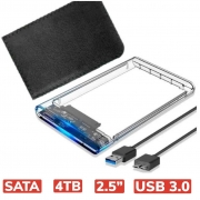 GAVETA CASE P/ HD SATA 2,5'' E SSD USB 3.0 TRANSPARENTE KP-HD012
