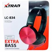 Headphone Estéreo Extra Bass Com Microfone XTRAD LC-834 Vermelho
