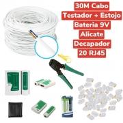 Kit 30m Cabo Rede +20 Rj45 + Alicate + Testador Cabo+Bateria