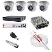 KIT CFTV 4 CAMERAS 720PHD DOME DVR HIKVISION FONTE 10A CABO COAXIAL 80% MALHA P4 E BNC S/HD