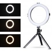 RING LIGHT DE LED 8 POLEGADAS PARA FOTO E VIDEO 72 LEDS DIMELIZAVEL 3200K A 5600K COM TRIPE ZL-8 ILUMINADOR 03208
