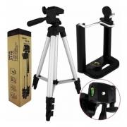 Tripé Telescópico Profissional P/ Câmera e Celular Tripod 3110 KP-3110 Knup 1,02Mt Prata