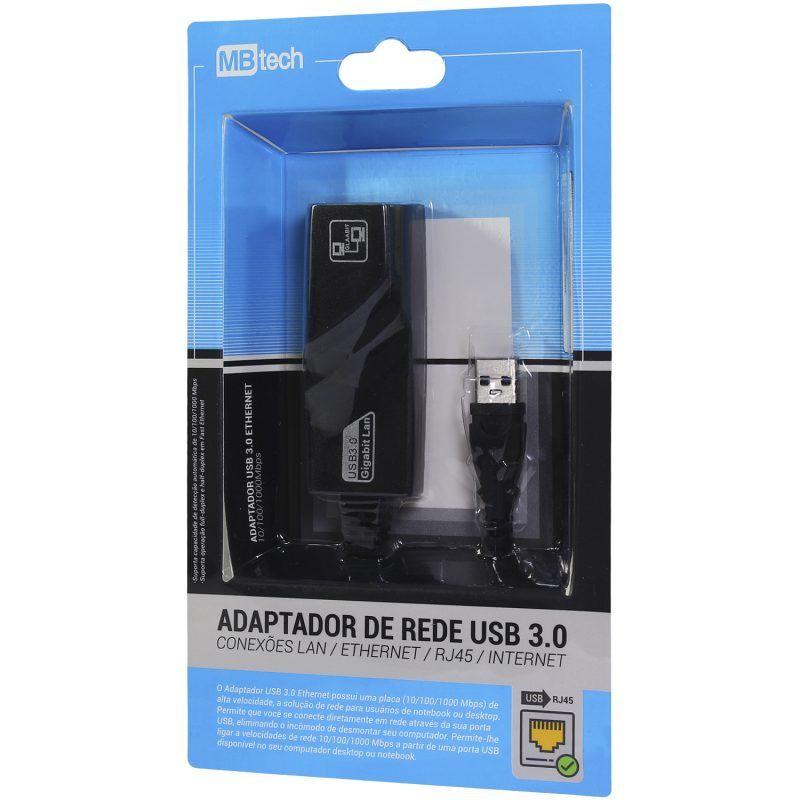 ADAPTADOR DE REDE USB 3.0 / RJ45 CONEXÕES LAN ETHERNET INTERNET(MB84239)