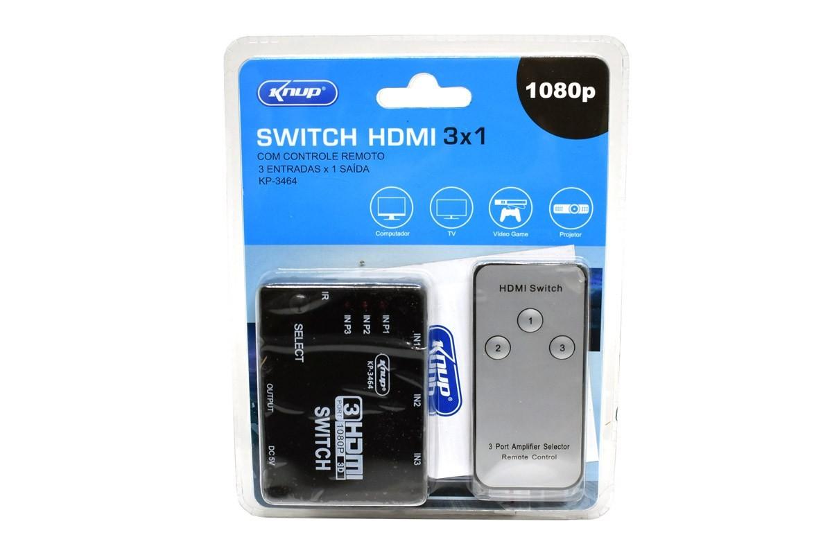 ADAPTADOR SWITCH HDMI 3 ENTRADAS 1 SAIDA  KP-3464 C/ CONTROLE