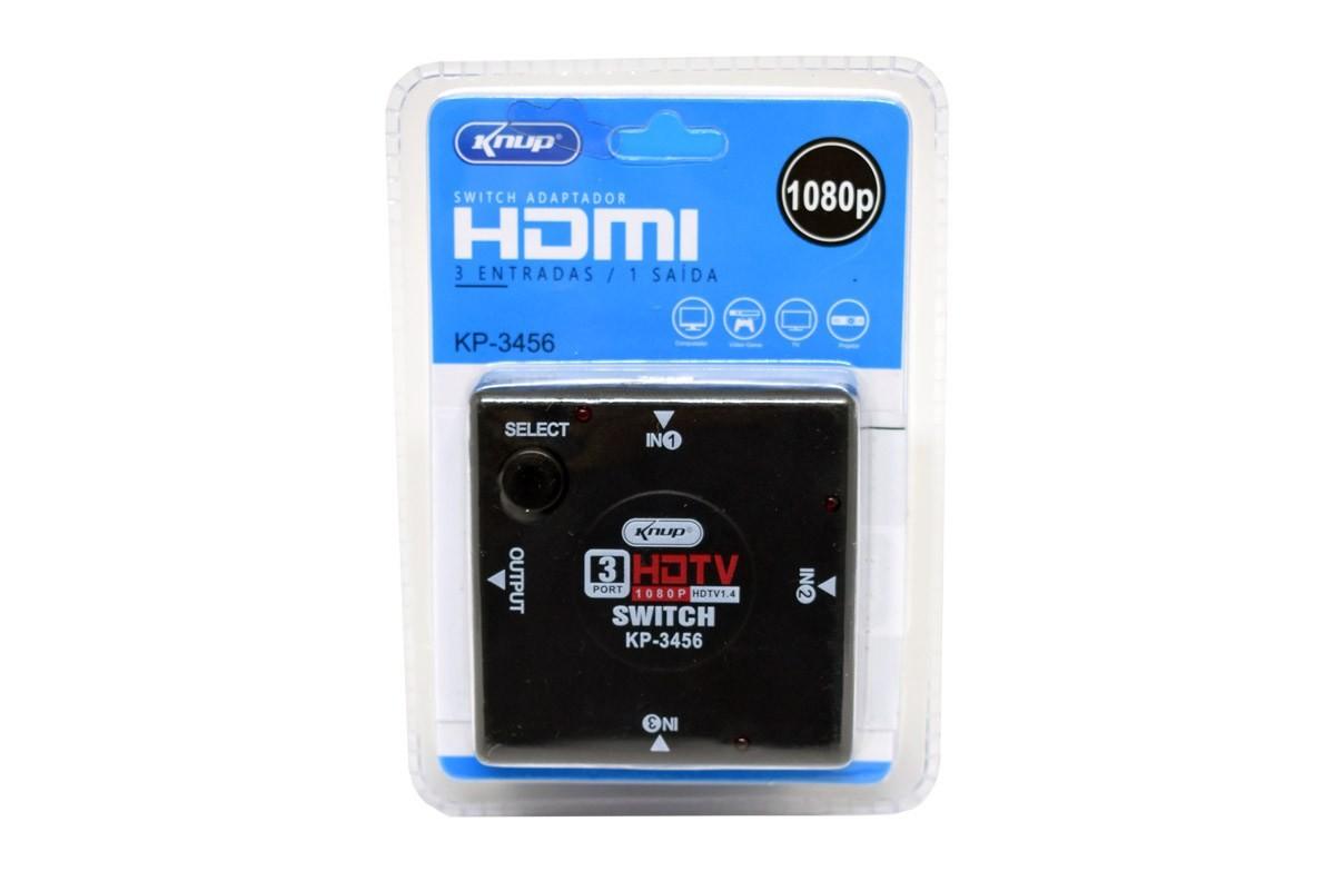 ADAPTADOR SWITCH HDMI 3 ENTRADAS E 1 SAIDA KP-3456