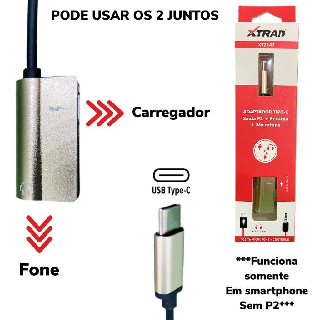 Adaptador Tipo C para P2 + Carregamento (Smartphone sem P2)  XT-2147 Xtrad Dourado