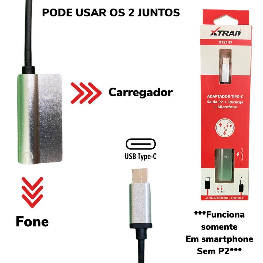 Adaptador Tipo C para P2 + Carregamento (Smartphone sem P2) XT-2147 Xtrad Prata