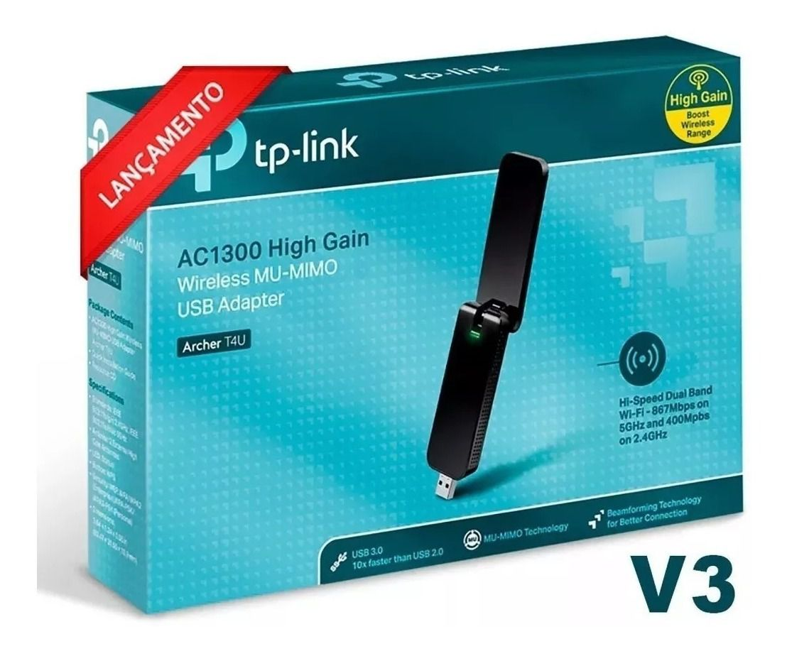 ADAPTADOR USB DUAL BAND WIRELESS AC1300 ARCHER T4U TP-LINK