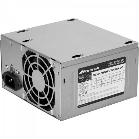 ATACADO: 10 FONTE ATX FORTREK 200W RMS S/CABO 20+4P