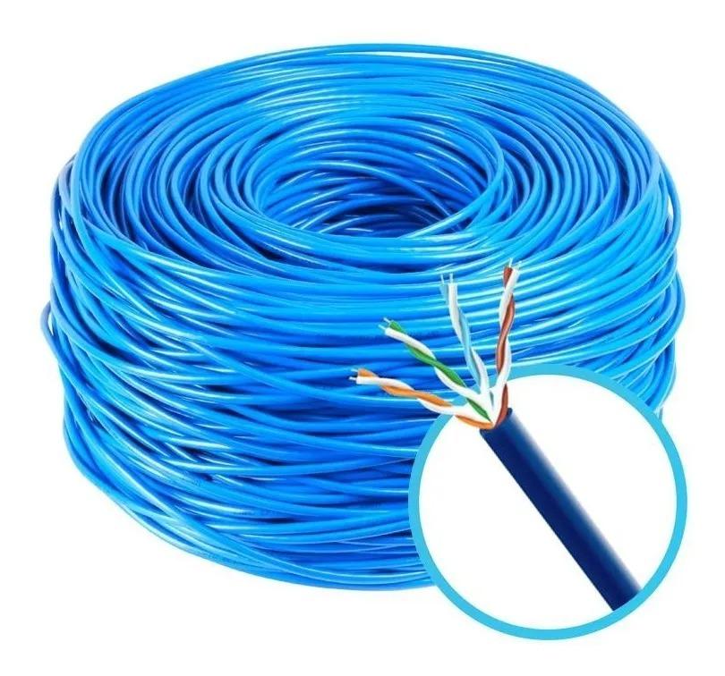 Cabo de rede azul Lan Expert 100% Cobre 4 Pares Turbo Link Cat5e 305m anatel