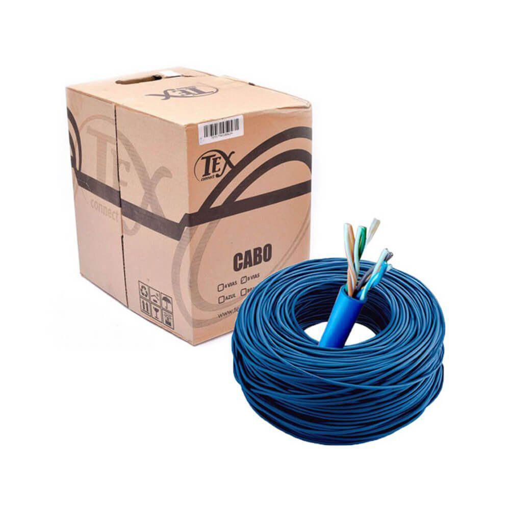 CABO DE REDE CAIXA 305M CFTV CAT5 Network Cabo Comunications 305mts AZUL