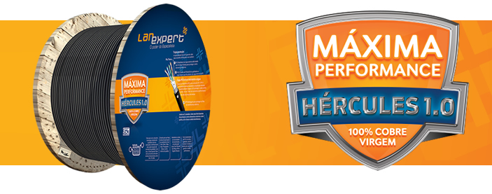 CABO DE REDE LAN EXPERT HERCULES DUPLA CAPA  FTP BLINDADO EXTERNO 100% COBRE CAT5E 100 METROS