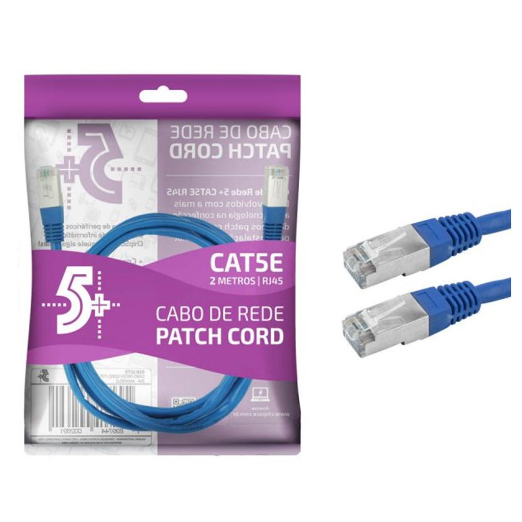 CABO DE REDE PATCH CORD CAT5E FTP BLINDADO GIGABIT - 2M - AZUL 5+