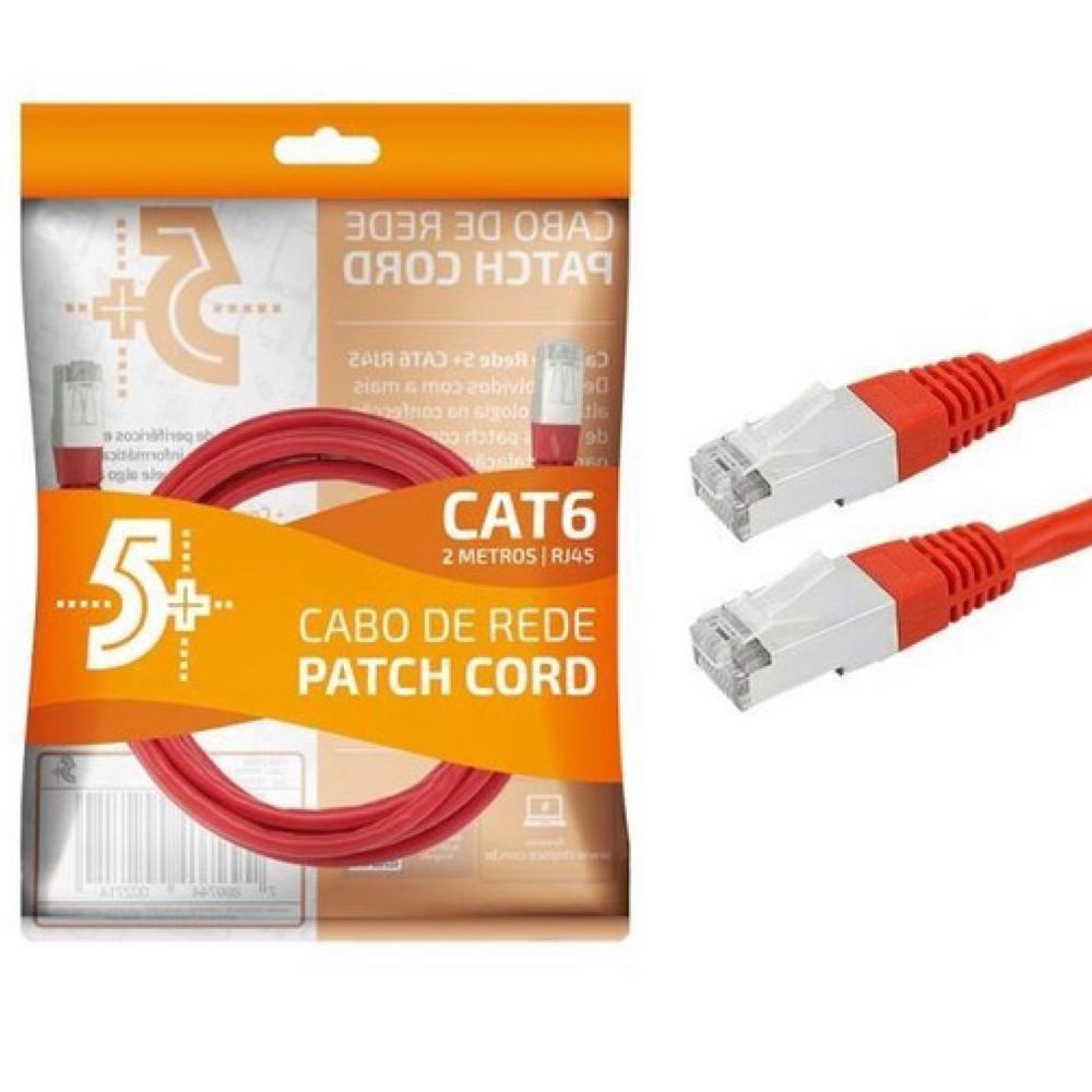 CABO DE REDE PATCH CORD CAT6 FTP BLINDADO GIGABIT- 2M - VERMELHO 5+