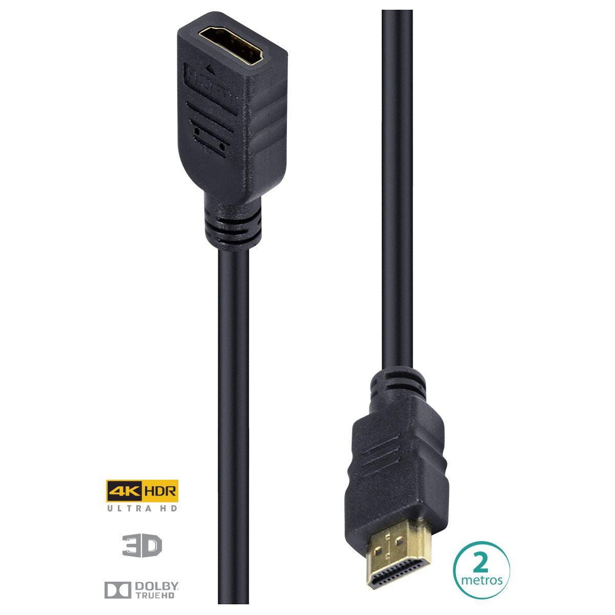 CABO HDMI 2.0 4K EXTENSOR ULTRA HD 3D CONEXÃO ETHERNET 2 METROS ? H20EX-2