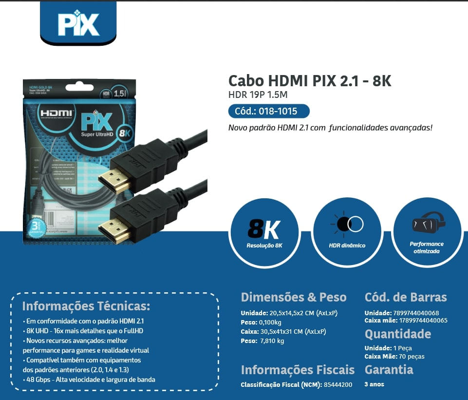 CABO HDMI GOLD 2.1 - 8K HDR 19P 1.5M