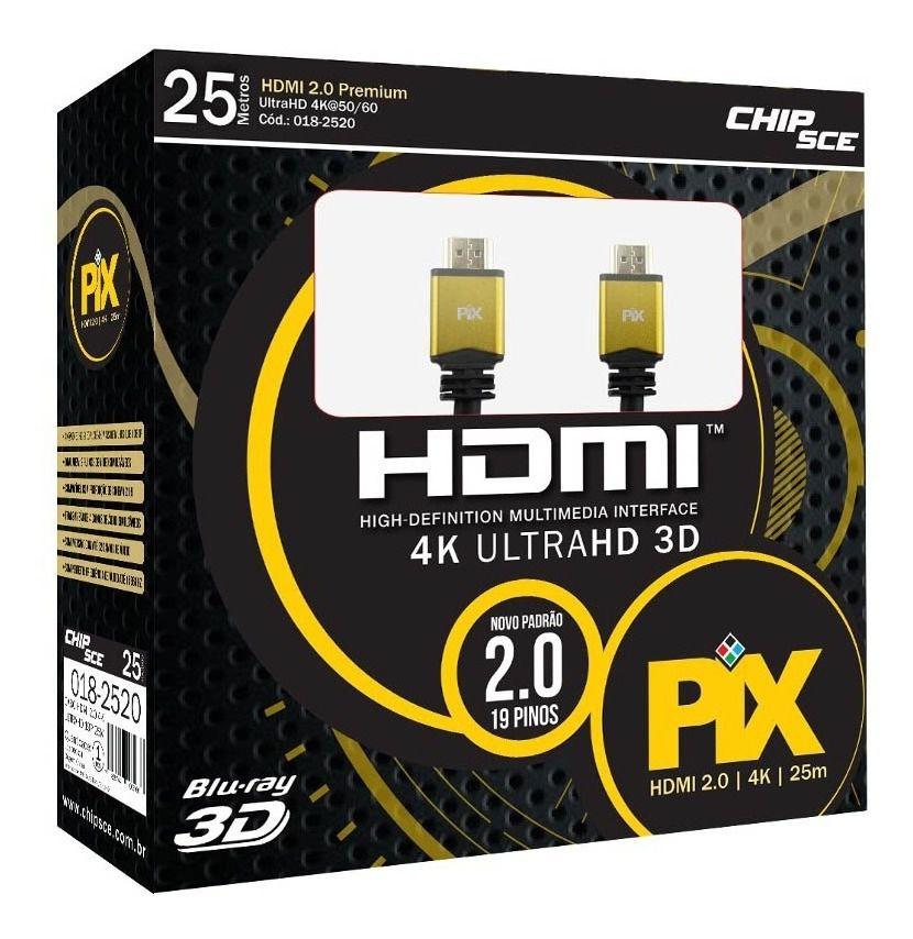 CABO HDMI PLUS - 2.0 4K HDR 19P 25 METROS - COM REPETIDOR 018-2520