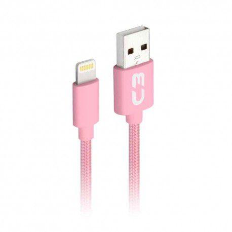 CABO LIGHTNING 2.0 AM 8 PINOS x USB 1m ROSA CB-L11PKX C3 PLUS@