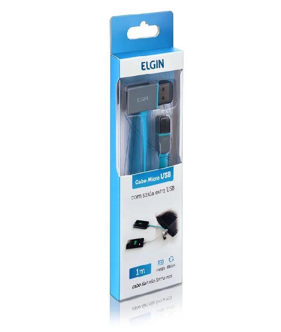 CABO MICRO USB 2.0 AM x USB 1m FLAT C/ SAIDA EXTRA AZUL 46RC2USBMI1M ELGIN@