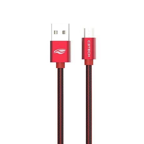 CABO NYLON MICRO USB 2.0 AM x USB 2m VERMELHO CB-200RD C3 TECH@
