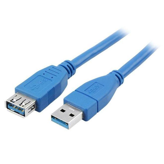 CABO USB 3.1 - USB A MACHO + USB A FEMEA 3.1 - 5M - AZUL