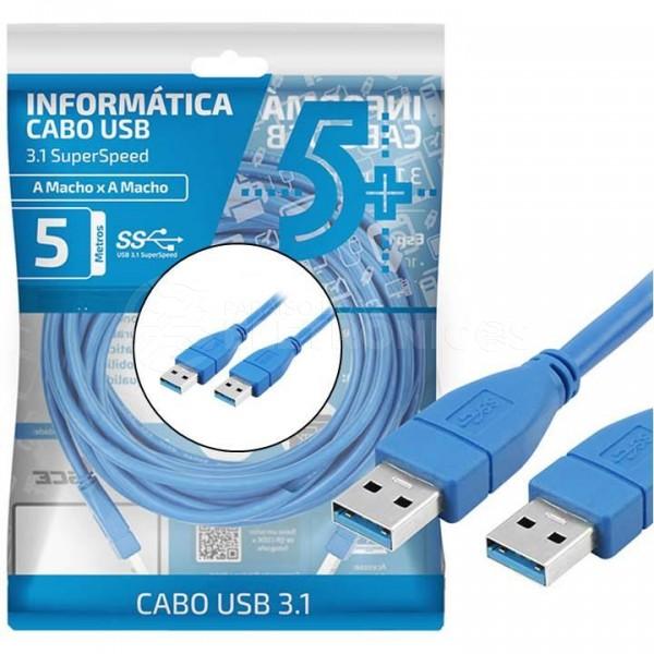 CABO USB 3.1 - USB A MACHO + USB A MACHO 3.1 - 5M - AZUL