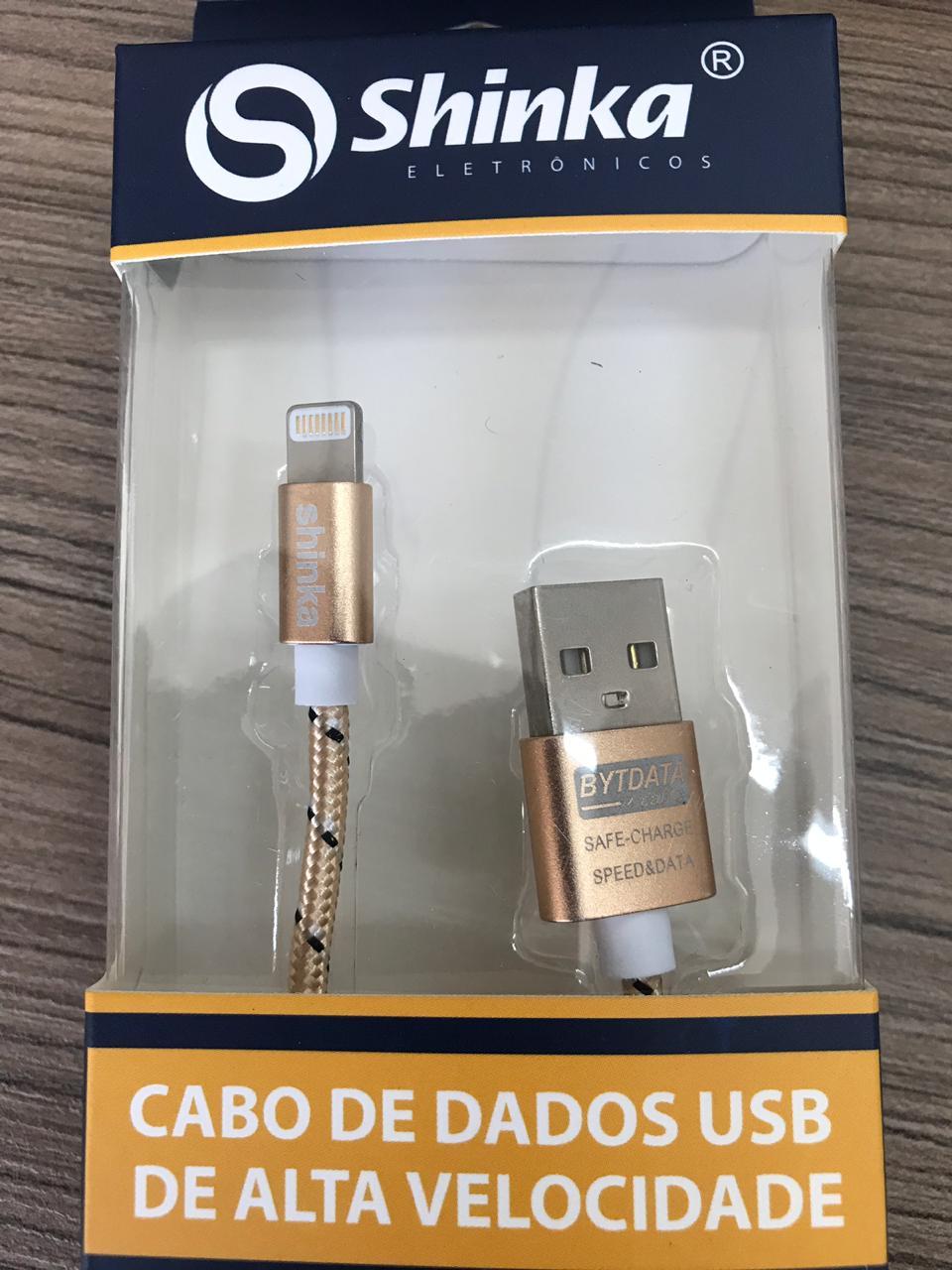 CABO USB LIGHTNING TECIDO 1M SHINKA SJX-09-6S