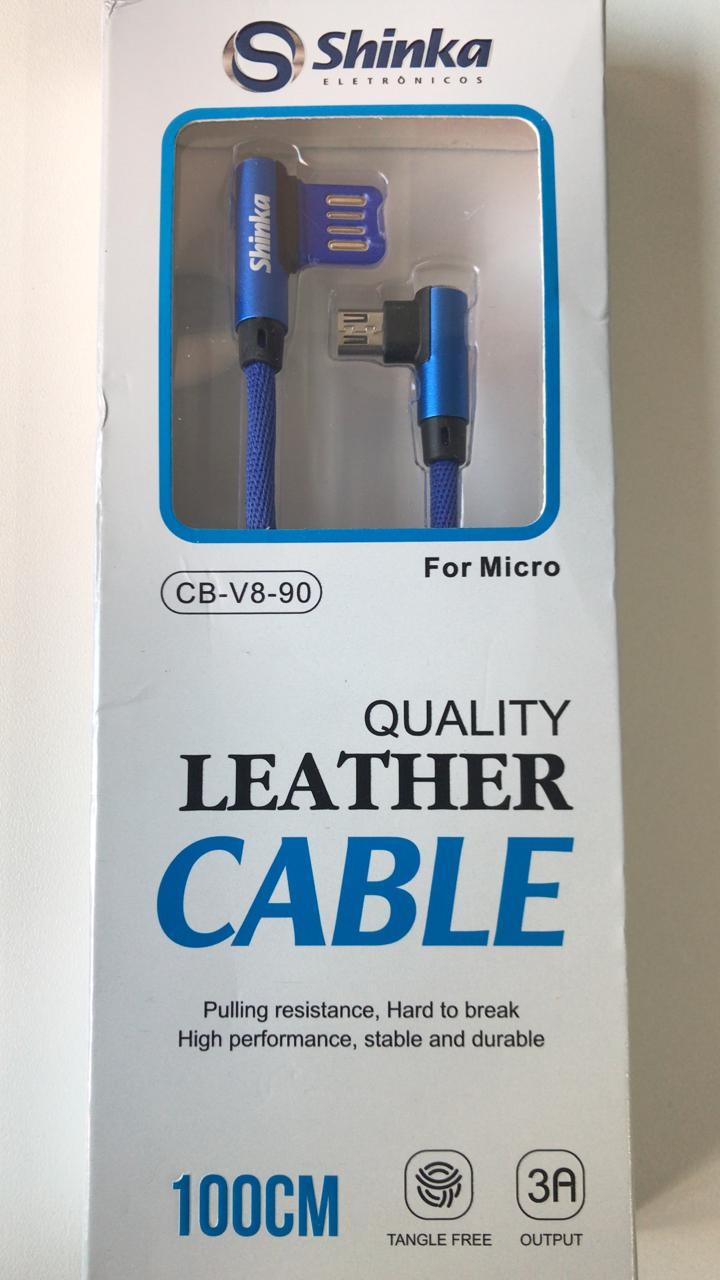 CABO USB V8 90 GRAUS CB-V8-90 Shinka 1mt 3A ideal para jogar