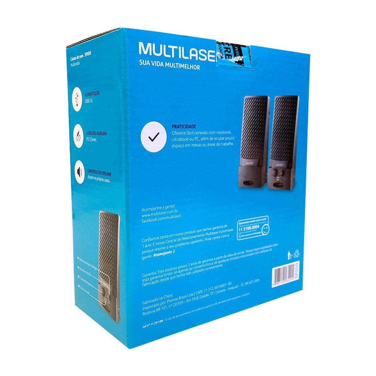 CAIXA DE SOM 2.0 1W RMS PRETA USB SP050 MULTILASER@