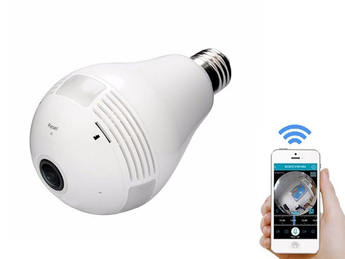 Camera Lampada Espiã Ip 360° Hd Panorâmica Led Wifi 3g Grava branca Exbom
