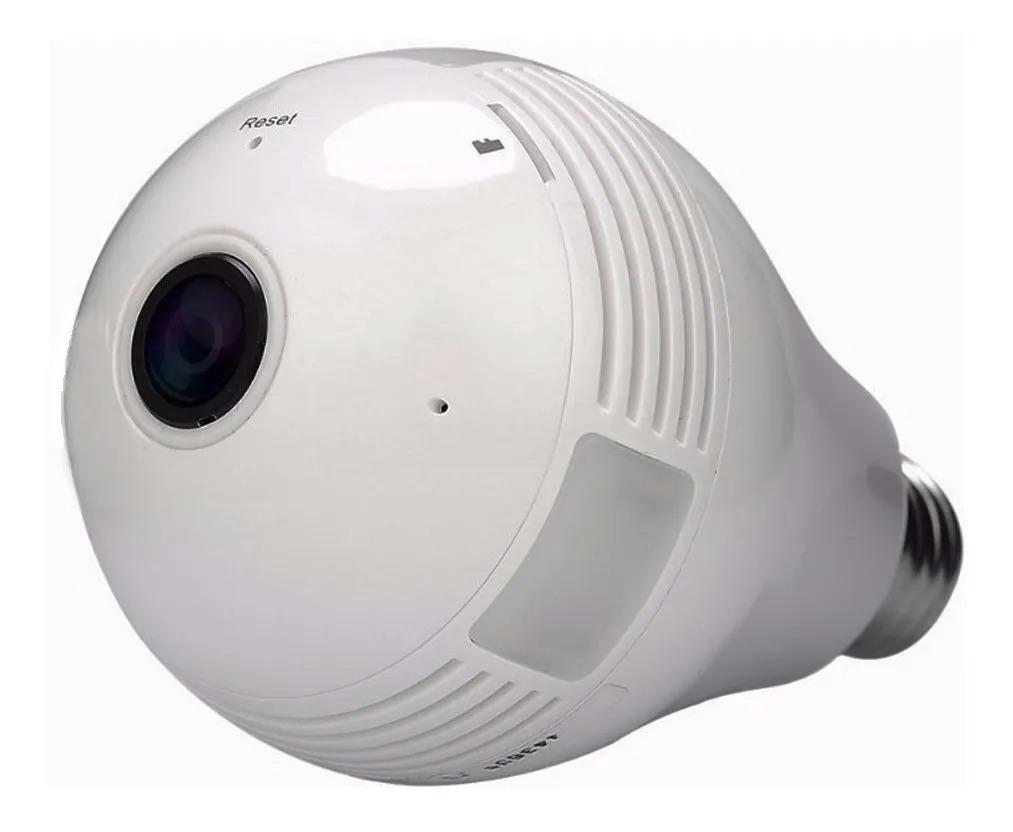 Camera Lampada Espiã Ip 360° Hd Panorâmica Led Wifi 3g Grava branca Ipega KP-CA153