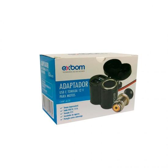 CARREGADOR ADAPTADOR TOMADA USB(2.1A) E ACENDEDOR PARA MOTO 12V A 24V CAMT-AU20