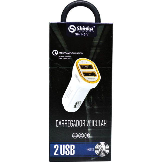 CARREGADOR AUTOMOTIVO CELULAR 12V 2 USB 2.0A IPHONE+ANDROID - SH-145-V