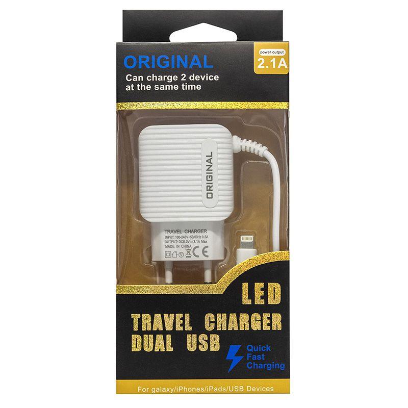 CARREGADOR COM CABO PARA IPHONE LIGHTNING COM 2 USB DEX G78