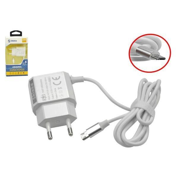 CARREGADOR V8 COM 1 USB 2.1A SHINKA FT-USB-CB-2 carga rapida