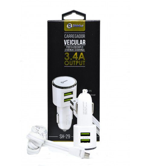 CARREGADOR VEICULAR 2 USB 3.4A AUTO-ID SHINKA SH-29 + CABO UAB ANDROID