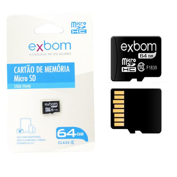 CARTAO DE MEMORIA 64Gb / C10 MICRO-SD (TF ) GRAVACOES 10MBS / LEITURA 15MBS EXBOM STGD-TF64G