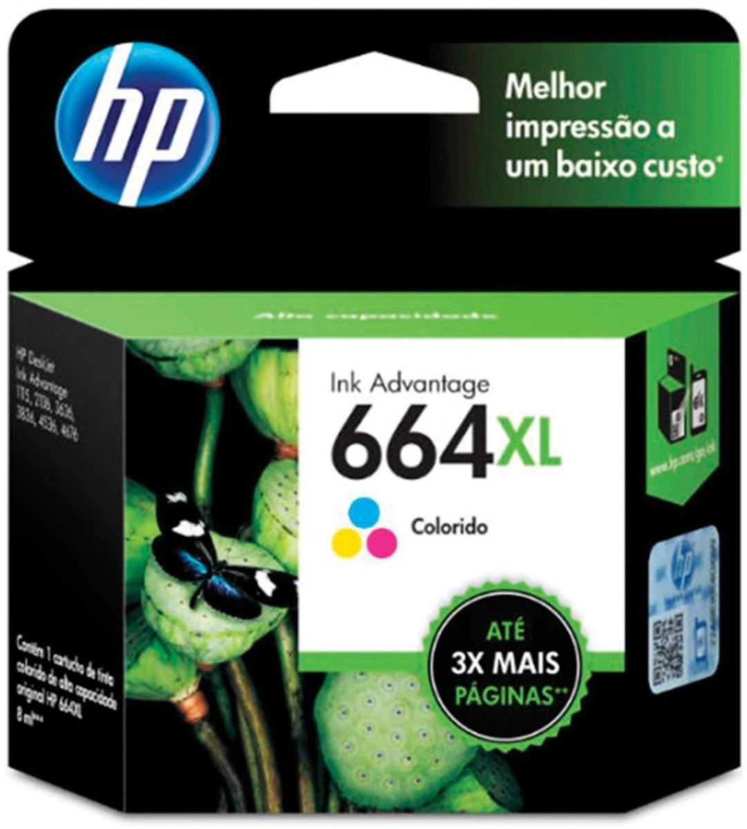 CARTUCHO DE TINTA COLOR 8,0 ml HP ORIGINAL F6V30AB 664XL
