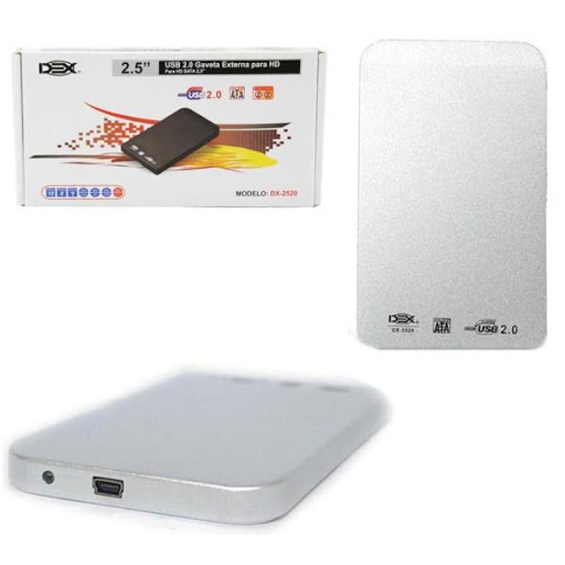 Case Gaveta Externa Hd Sata Notebook 2.5 Bolso 1 Tb Xbox T2 Prata dx-2520