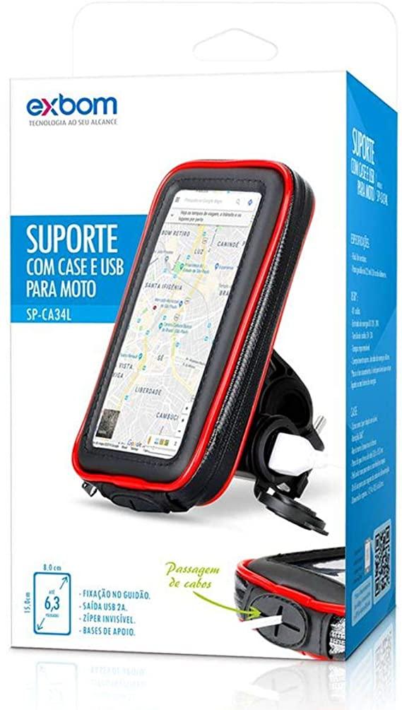 CASE IMPERMEAVEL DE MOTO CELULAR C/ CARREGADOR USB 6,3'' GUIDAO EXBOM SP-CA34L
