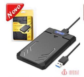 CASE PARA HD 2.5 SATA II USB 3.0 FAST 5GBPS APOIO UASP SUPORTA 3TB GAMER INFOKIT ECASE-340