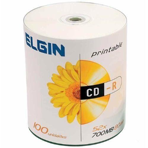 Cd-R 700mb 52x - Elgin Printable - Com 100 Unidades - 82045