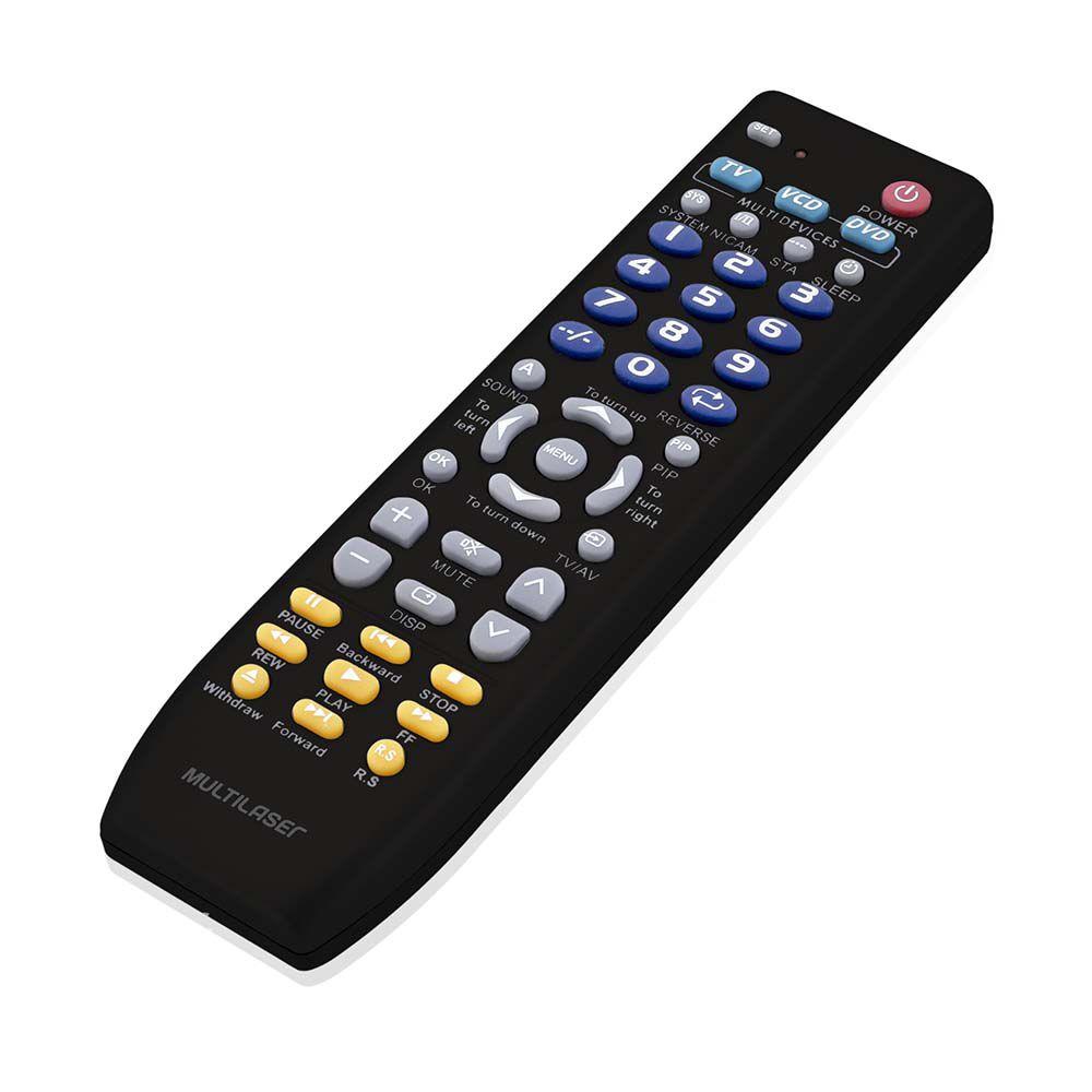 CONTROLE REMOTO UNIVERSAL 3 EM 1 TV DVD/VCD PRETO AC088 MULTILASER