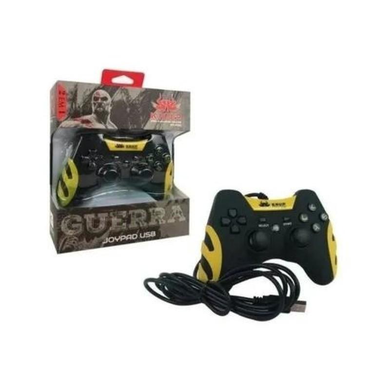 Controle Videogame Com Fio 2 Em 1 Ps3 Ou Pc Dualshock Joypad KP-4040 Knup Amarelo