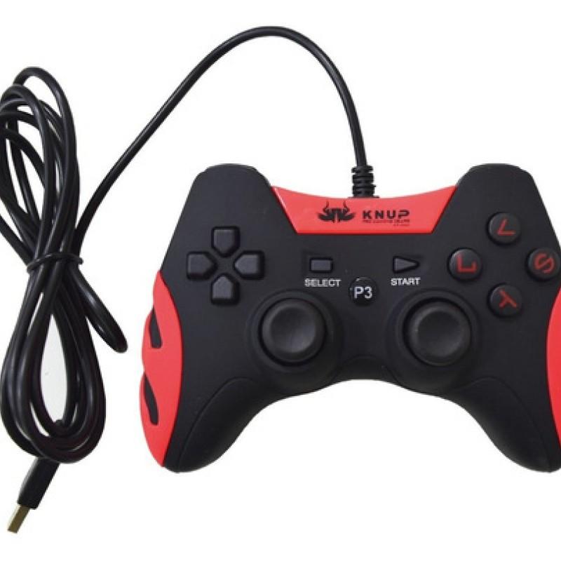 Controle Videogame Com Fio 2 Em 1 Ps3 Ou Pc Dualshock Joypad KP-4040 Knup Vermelho