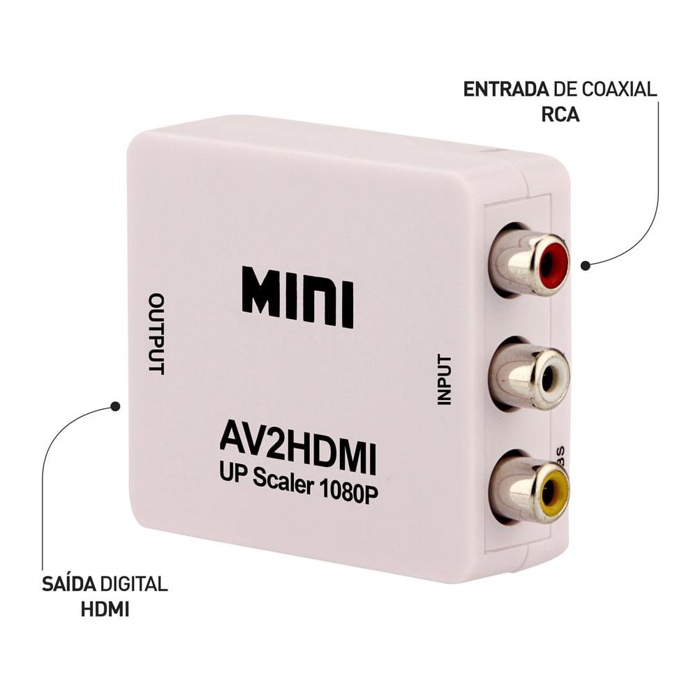 CONVERSOR AV RCA PARA HDMI 1080P ALIMENTAÇÃO USB