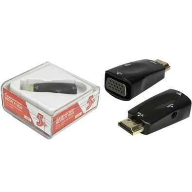 CONVERSOR DE VIDEO HDMI M x VGA F C/ CABO DE AUDIO P2 075-0822 5+