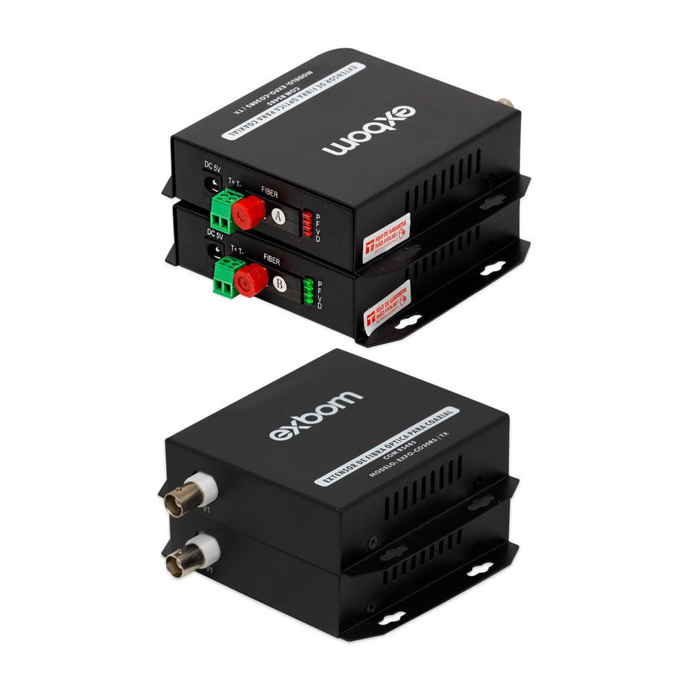 CONVERSOR FIBRA OPTICA PARA COAXIAL 1080P 1 CANAL COM AUDIO RS-485 COM REVERSO EXBOM CFO-CO30RS